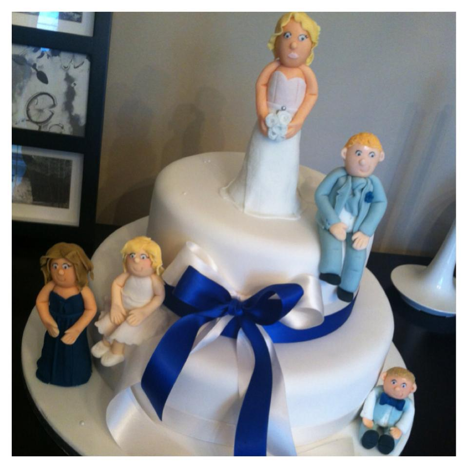 Family White And Blue Themed 2 Tier Wedding Cake