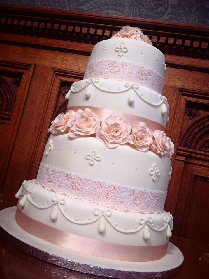 Peach Themed Wedding Cake 1