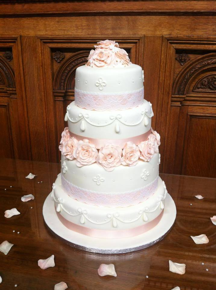Peach Themed Wedding Cake 2