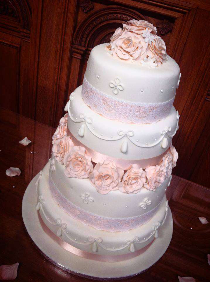 Peach Themed Wedding Cake 4