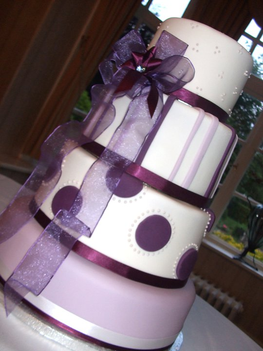 Purple Themed 4 Tier Wedding Cake 1