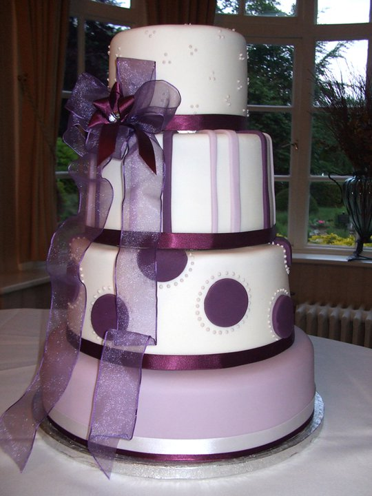 Purple Themed 4 Tier Wedding Cake 2