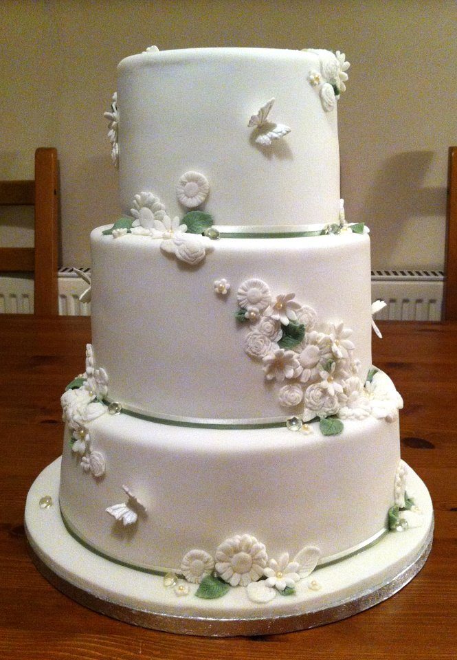 White And Ivy Flower 3 Tier Wedding Cake 2