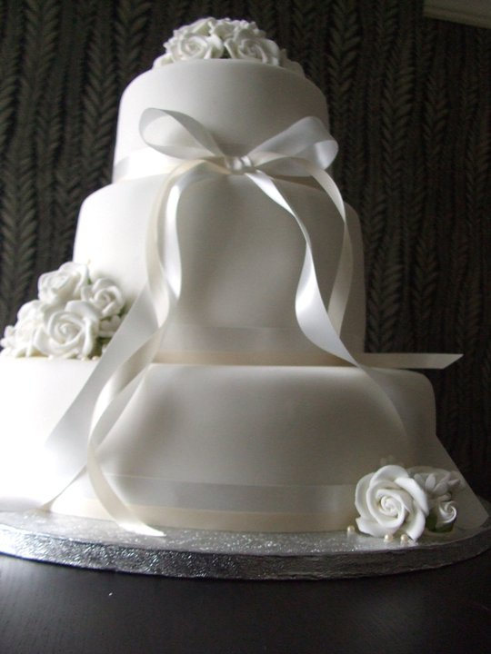 White Flower Themed 3 Tier Wedding Cake 1