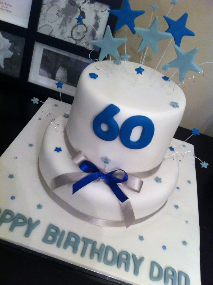 Two Tier White And Blue Themed Cake