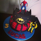 Batman & Spiderman Cake. Licky Lips Cakes liverpool