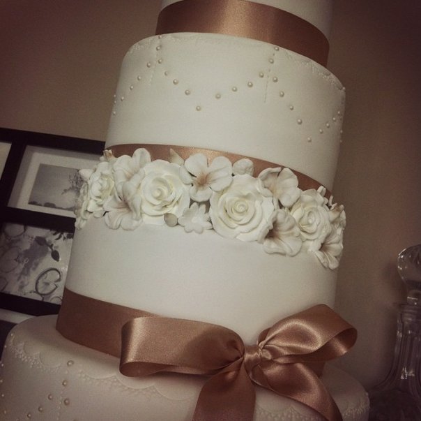 Wedding Cake Floral 3 Licky Lips Cakes Liverpool