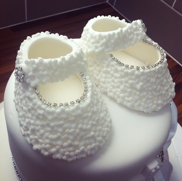 Christening Cake Fondant Booties Licky Lips Cakes Liverpool