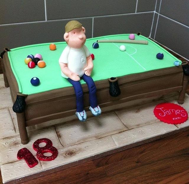 Snooker / Pool table cake - licky lips cakes liverpool