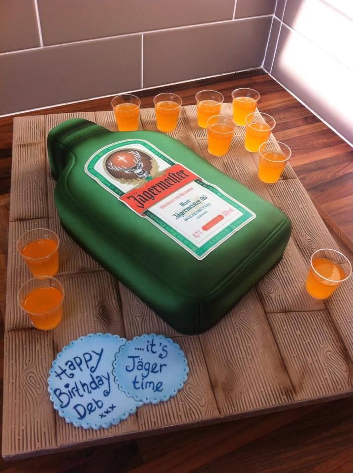 Jagermeister / Jagerbomb shots cake  - licky lips cakes liverpool
