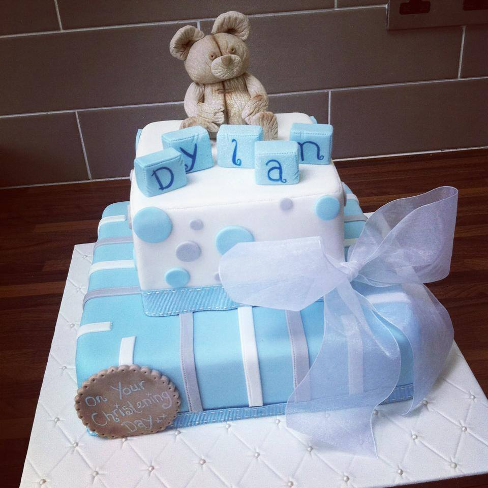 2 tier teddy bear christening cake - licky lips cakes liverpool