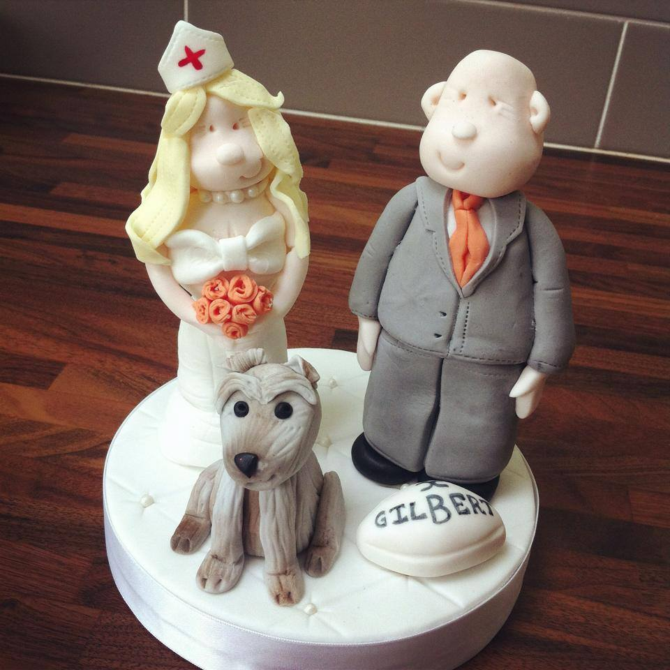 Bride and groom wedding cake topper  - licky lips cakes liverpool