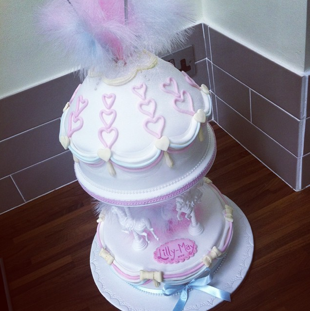 Pastel Carousel Christening Cake 3 Licky Lips Cakes Liverpool