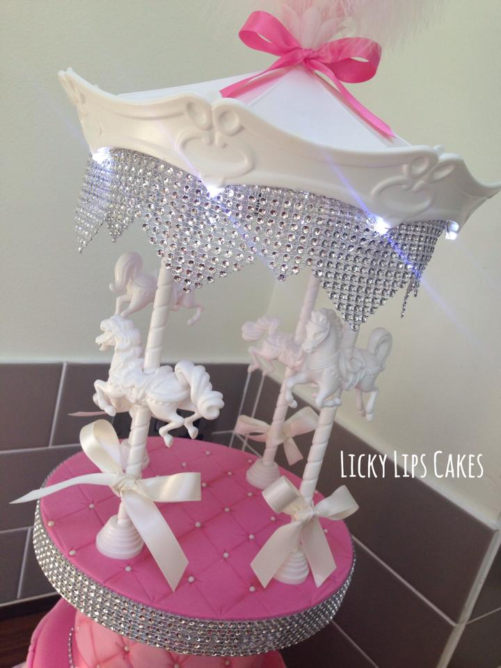 Carousel Christening Cake With Lights Licky Lips Cakes Liverpool