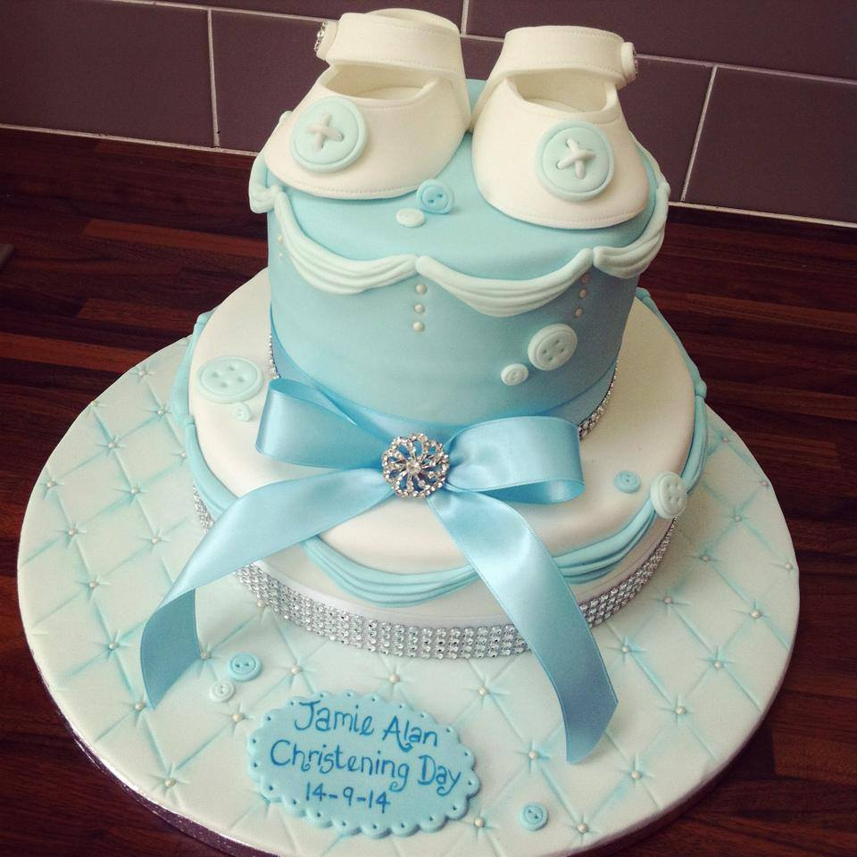 Boy Christening Cake Booties And Buttons Licky Lips Cakes Liverpool
