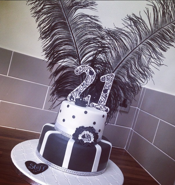Black And White Cake 21St Cake Feathers Licky Lips Cakes Liverpool