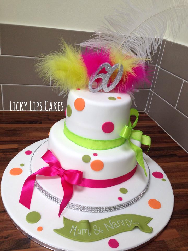 Spots And Feather Cake Neon Cake Licky Lips Cakes Liverpool