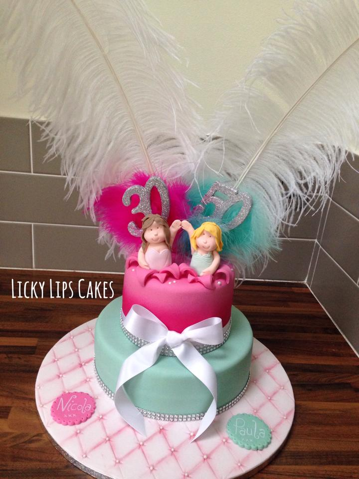 Joint Birthday Cake Pink And Aqua Licky Lips Cakes Liverpool